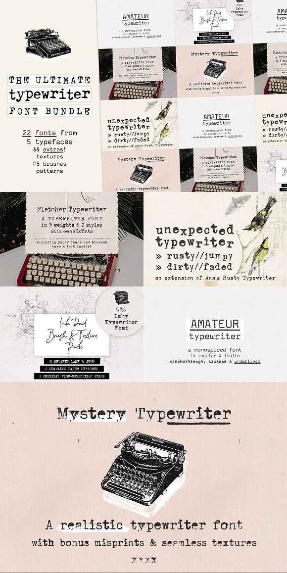 The Ultimate Typewriter Font Bundle by Anas Fonts on Creative Market It includ