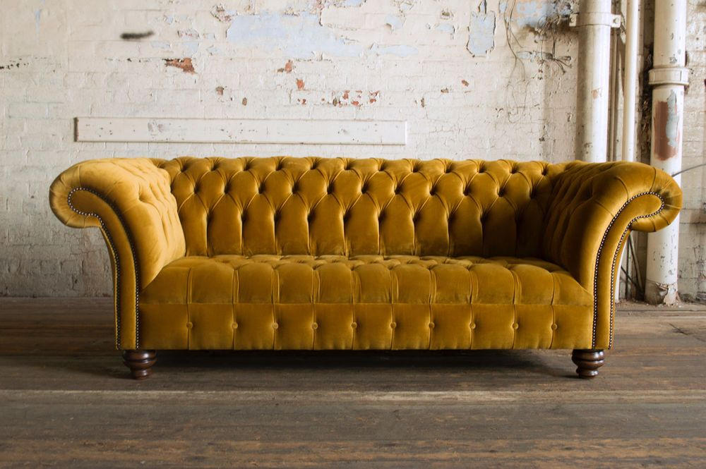 Modern Handmade Plush Deep Mustard Gold Velvet 3 Seater Chesterfield Sofa This Sofa Has Been Covered In Simply E Gold Sofa Sofa Decor Velvet Chesterfield Sofa