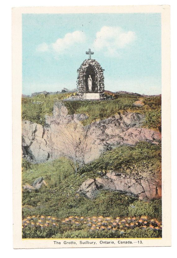 1936 Vintage Canada Postcard Sudbury The Grotto by PicturesFromThePast, $3.95