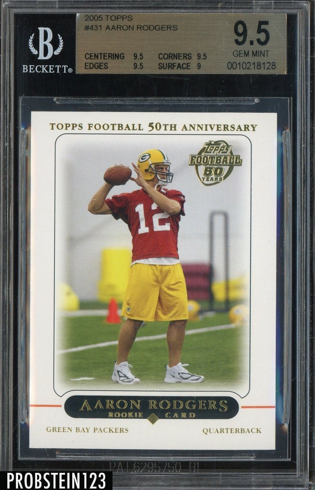 2005 Topps 50th 431 Aaron Rodgers Packers Rc Rookie Bgs 9 5 Bgs95 Sportscards Green Bay Packers Football Trading Cards