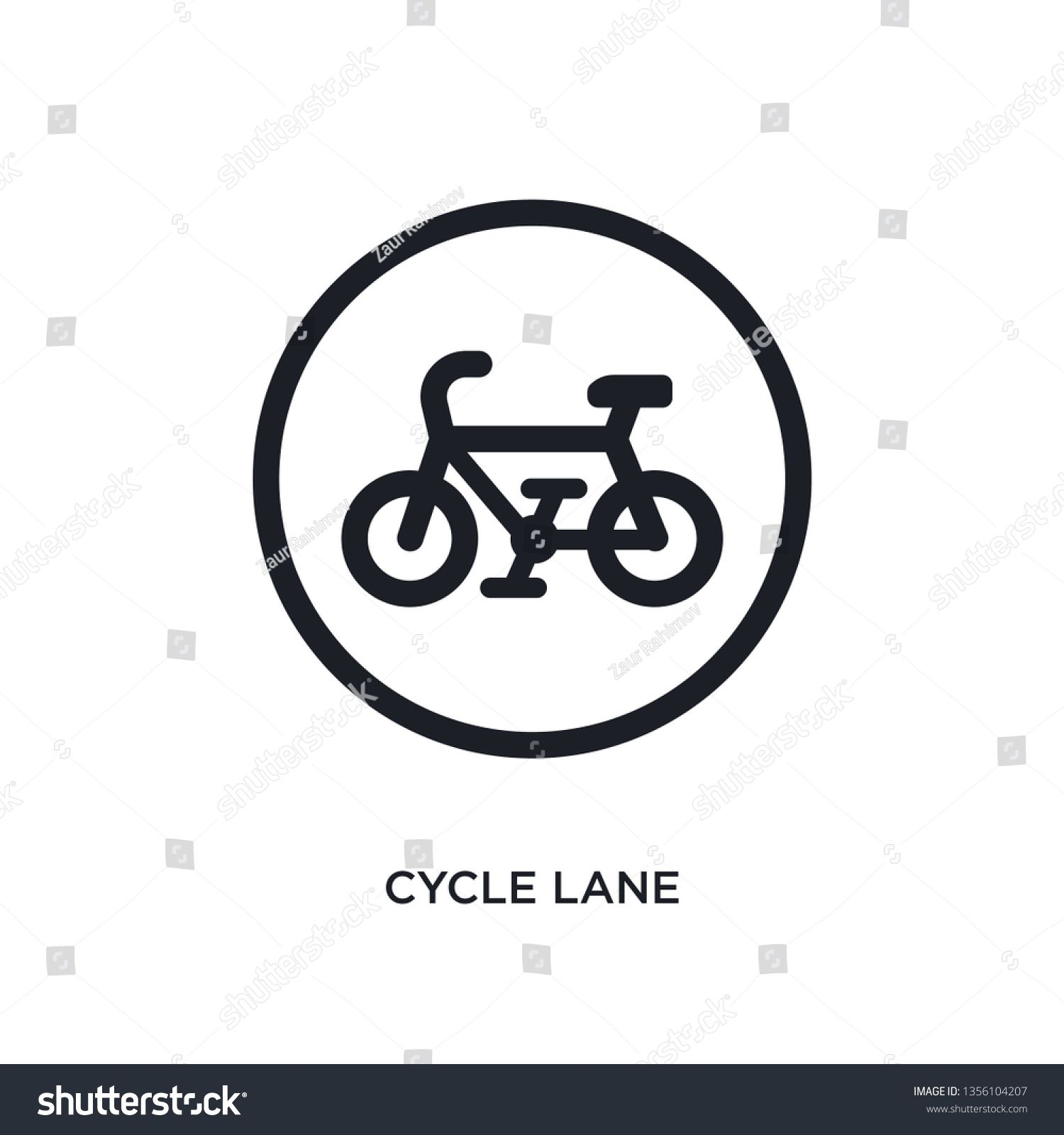 black cycle lane isolated vector icon simple element illustration from traffic signs concept vector icons cycle lane editable logo symbol design on white background can b...