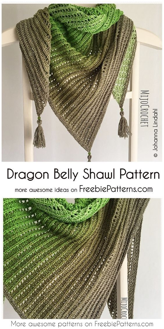 Dragon Belly Shawl [Free Crochet Pattern] en 2018 | Châle en crochet ...