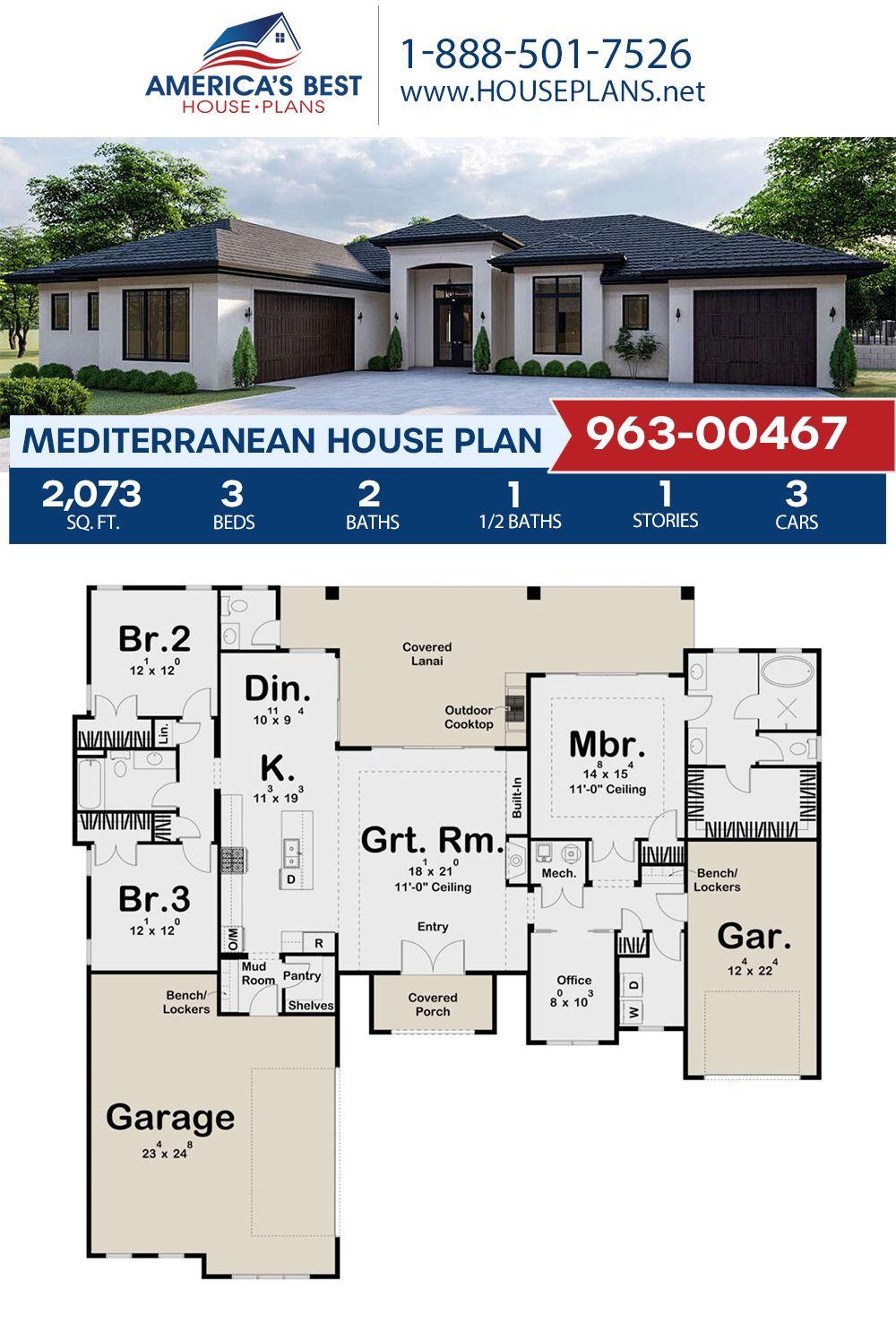 House Plan 963 00467 Mediterranean Plan 2 073 Square Feet 3 Bedrooms 2 5 Bathrooms Mediterranean House Plans Mediterranean Floor Plans Mediterranean House Plan