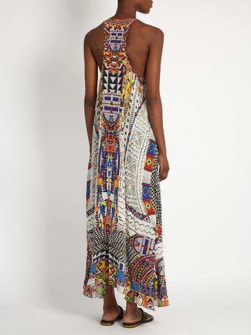 Camilla Echos of Engai-print racer-back silk maxi dress