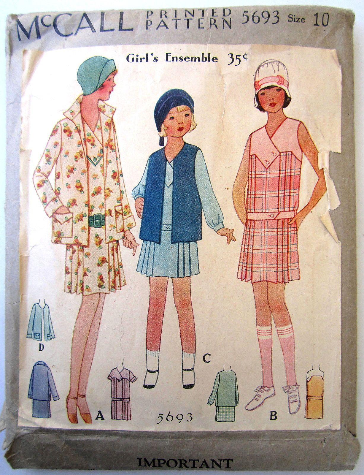 McCall 1920's Girls Dress Ensemble Pattern Sz 10 5693 ...