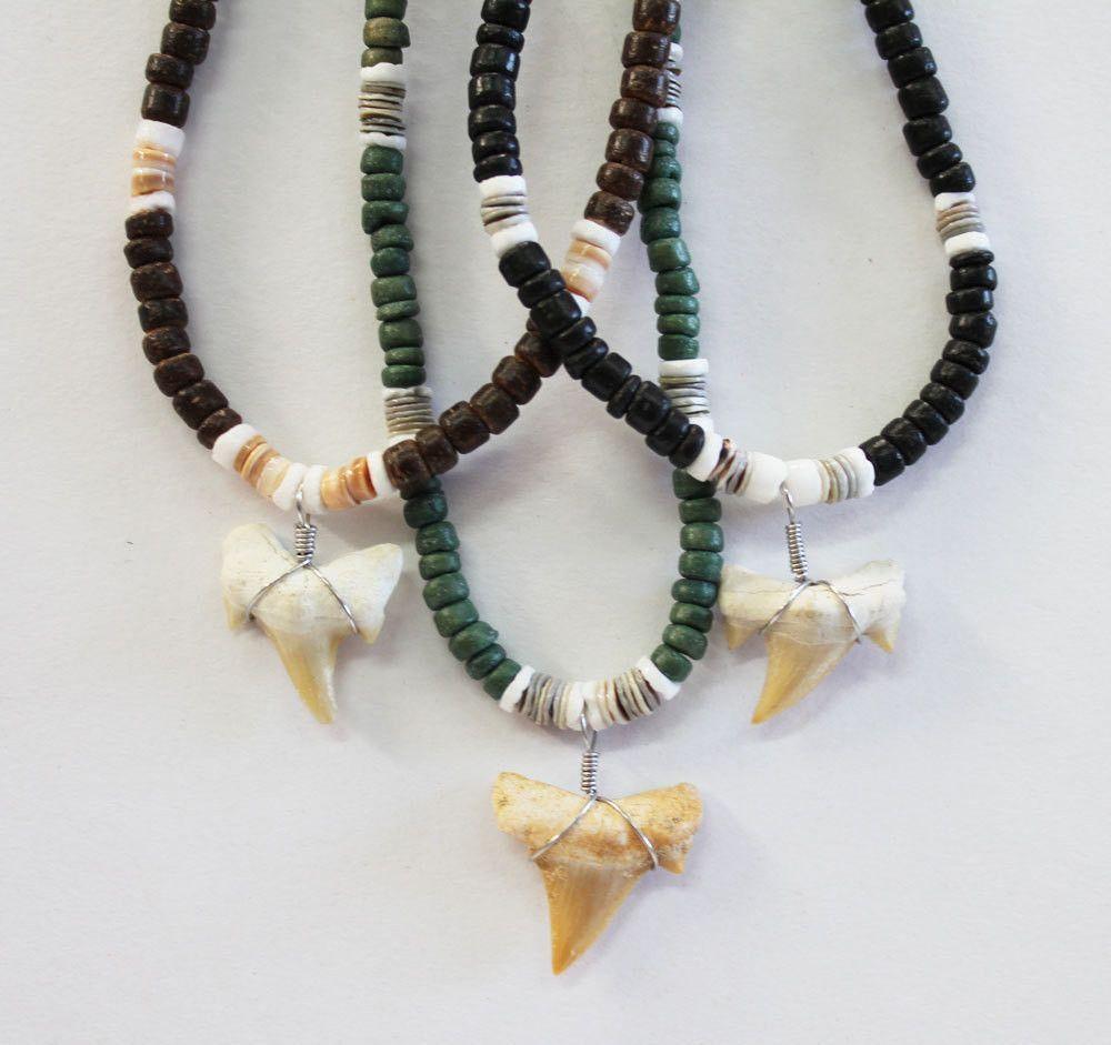 Shark tooth bead necklace manillas pinterest shark tooth bead necklace aloadofball Images