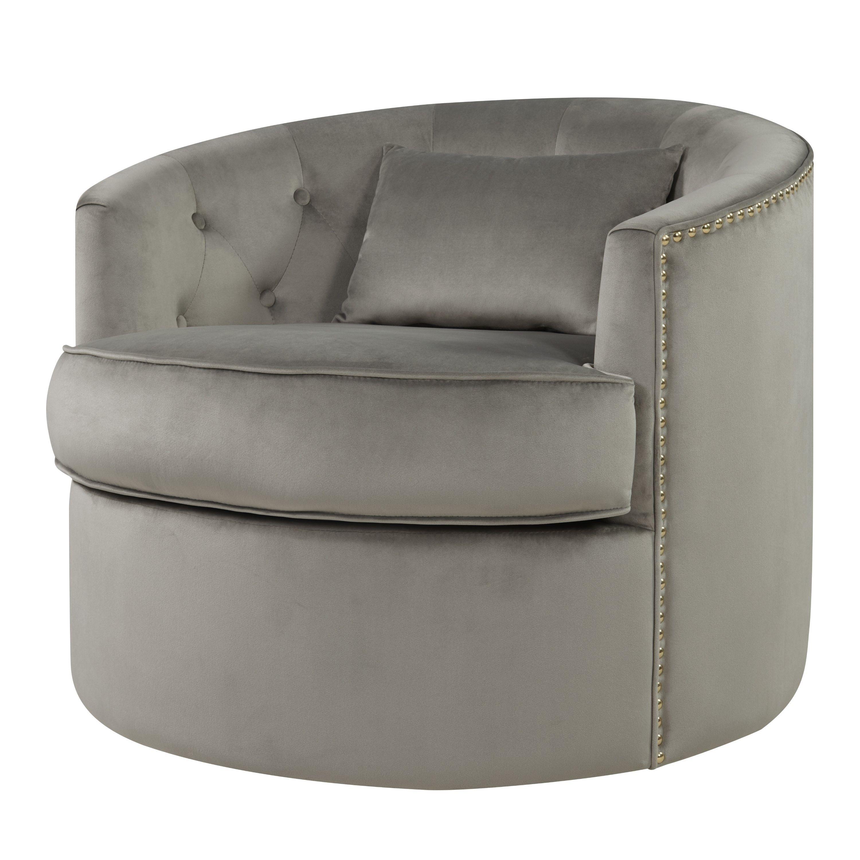 Marjorie Grey Velvet Nailhead Tufted Swivel Accent Chair Grey