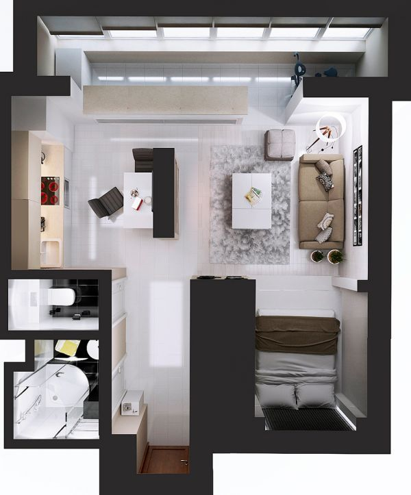 About studio apartment layout on pinterest studio living for Studio apartment floor plans pdf