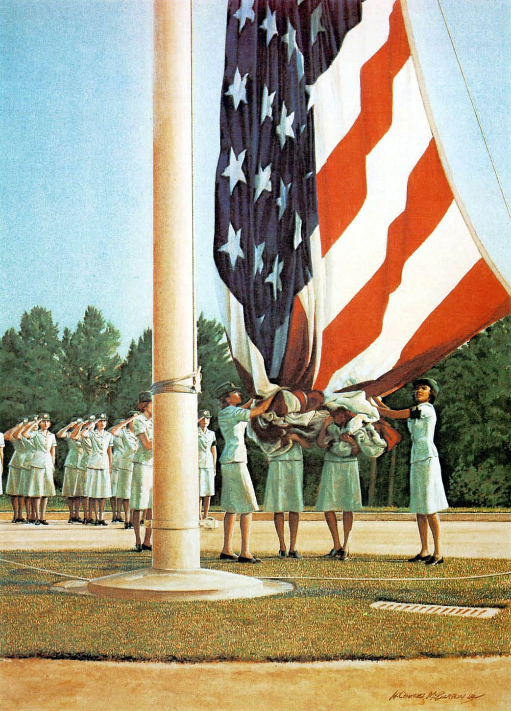 Women S Army Corps Taking Down The Largest Flag A Garrison Flag Flown Only On Very Special Occassions Women S Army Corps Army Day Us Army Soldier