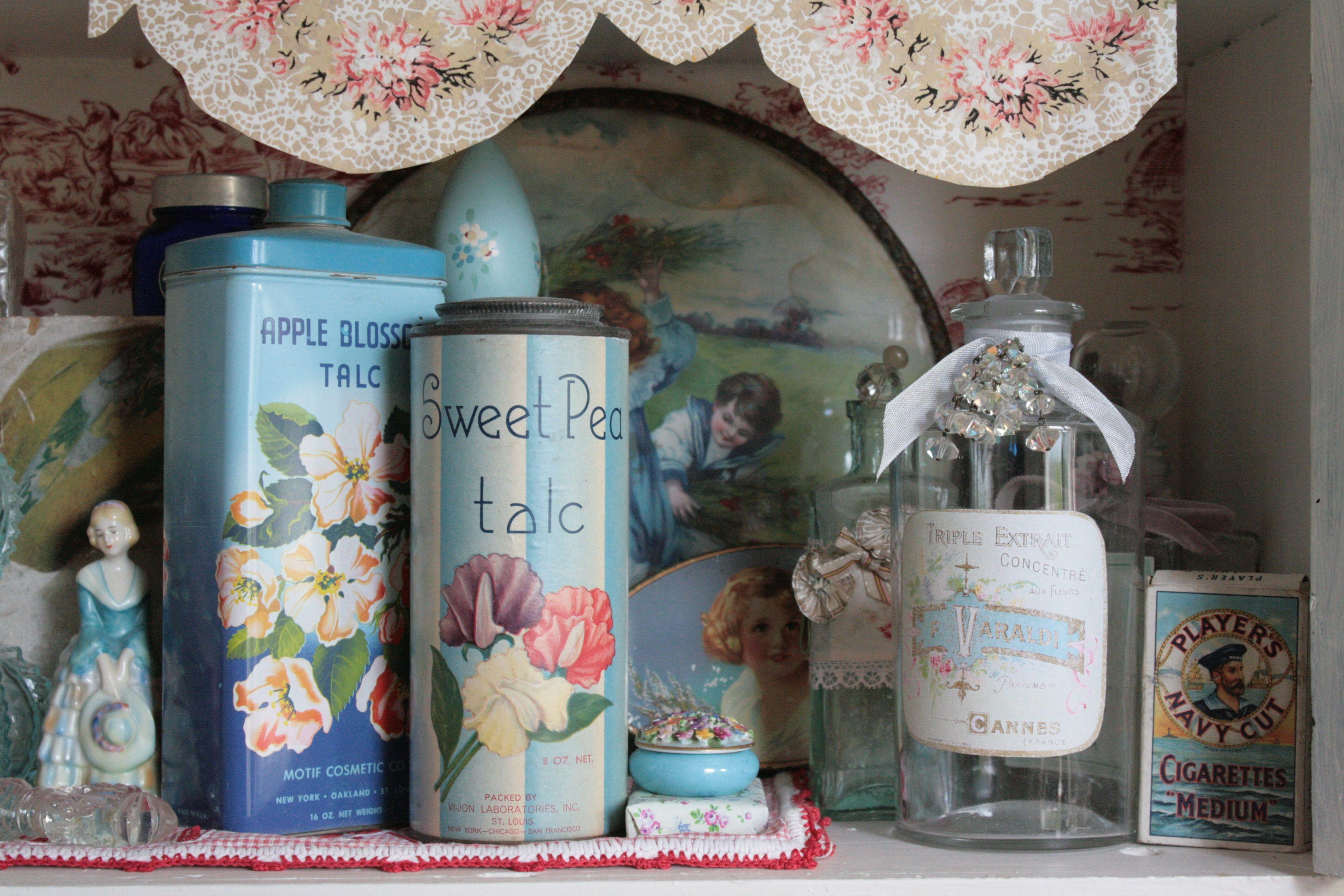The End Vintage tins, Vintage vanity, Vintage perfume