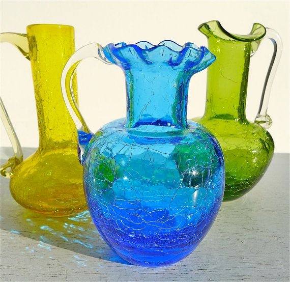 Vintage Crackle Glass Pitcher Collection of 3 by twolittleowls,