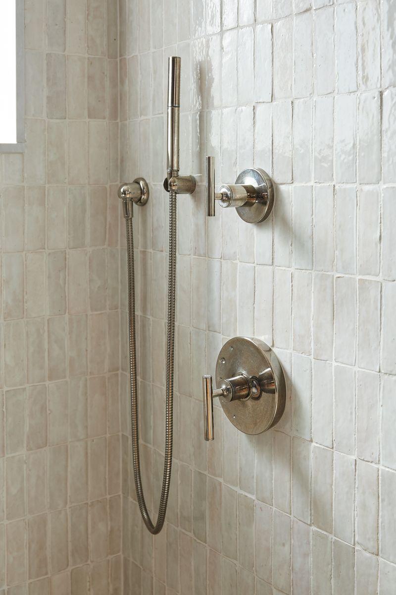 Weathered White Zellige 2 X6 X3 4 Subway Shower Wall Weathered White Minimalist Home Interior
