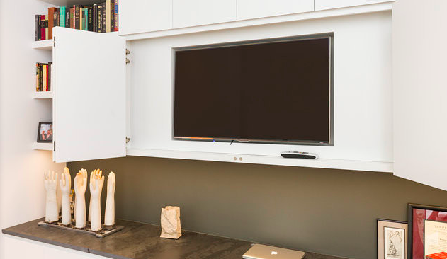 Remodelista Sourcebook For The Considered Home Open Plan Kitchen Living Room Tv Cupboard Tv In Bathroom