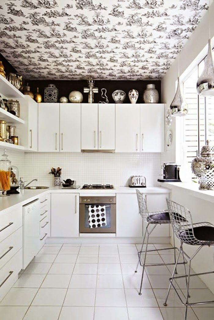 Poppytalk White kitchen wallpaper, Kitchen wallpaper