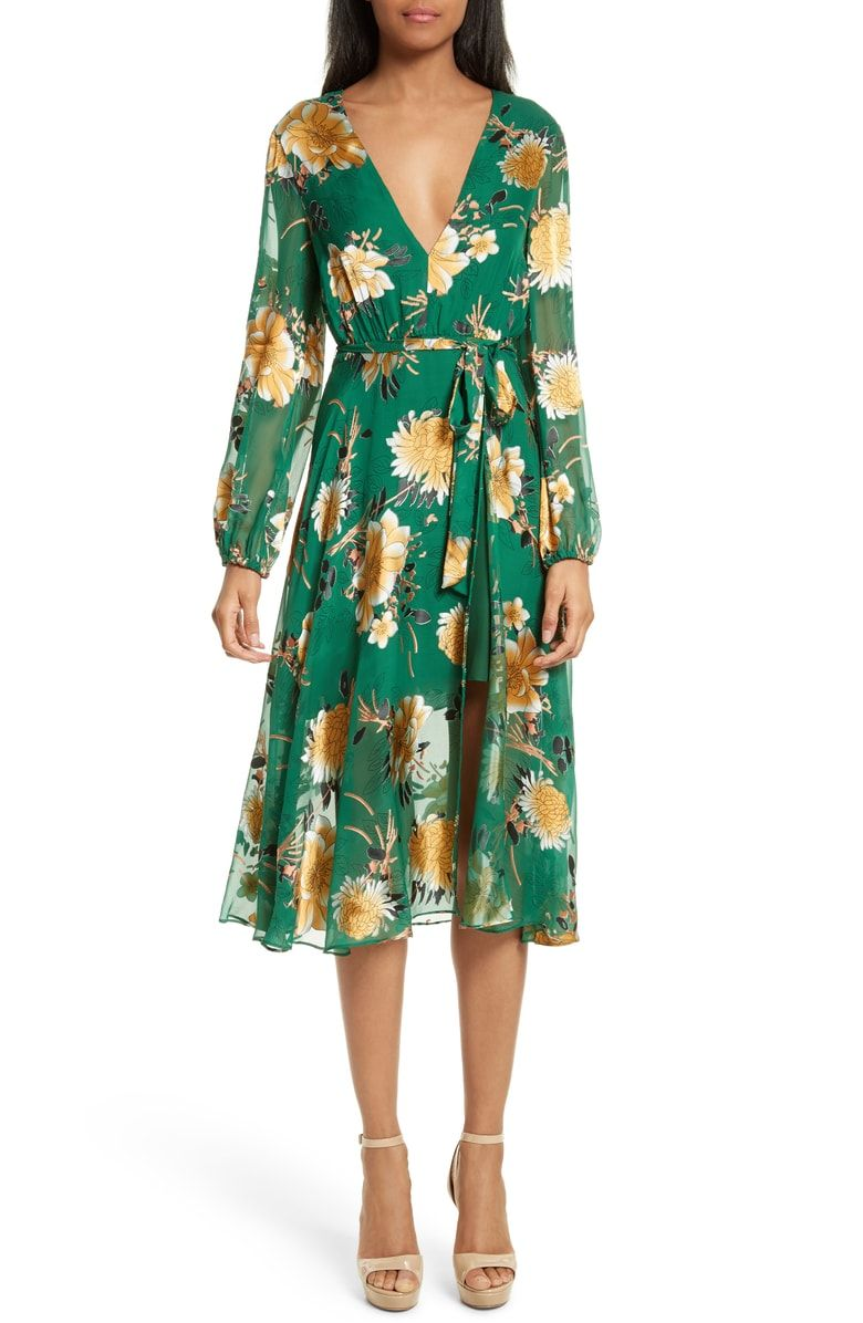 c9a4d3257708 Free shipping and returns on Alice + Olivia Coco Floral Print A-Line Dress  at Nordstrom.com. Pretty blossoms pop from the vivid kelly green background  of a ...
