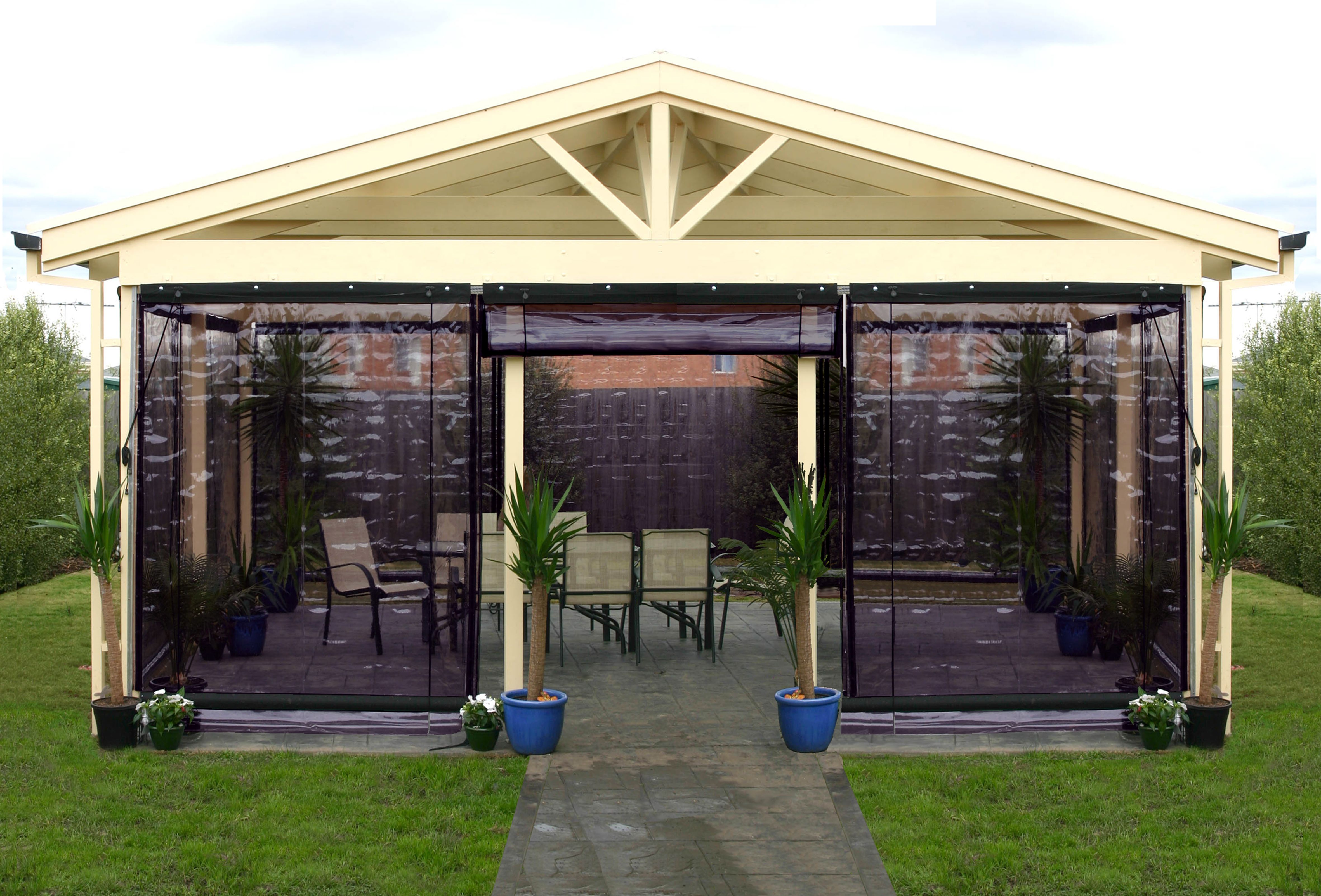 Outdoor Blinds Bunnings Blind Outdoor Bistro Shp 210x240cm Cha Pvc Blk Bi2124ch Bunnings
