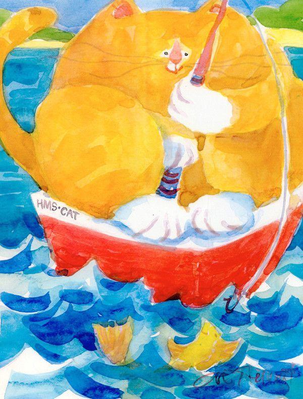 HMS Orange Tabby Fishing Cat 2-Sided Garden Flag