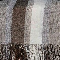 Varying Width Bands Handwoven Linen Throw