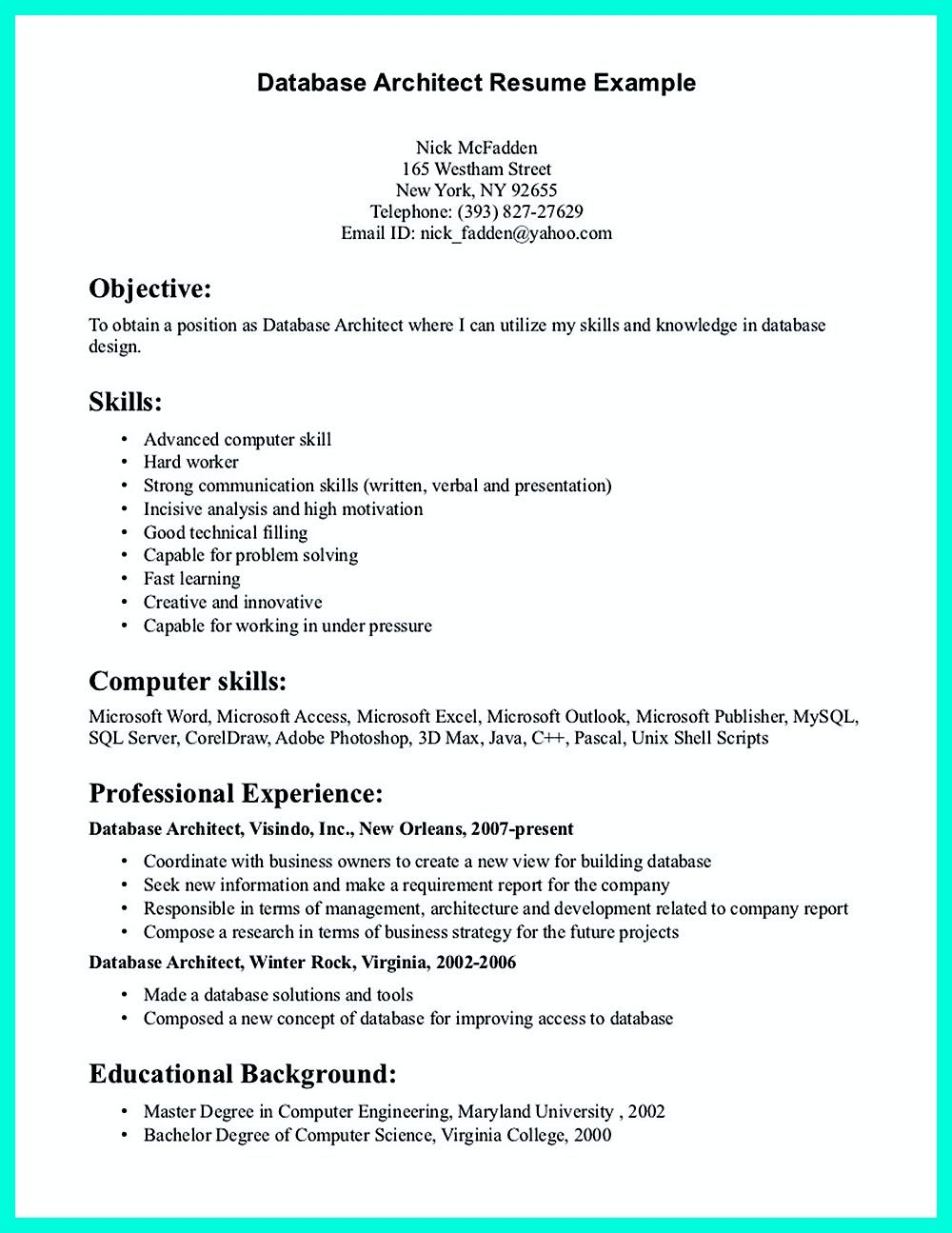 in the data architect resume one must describe the professional