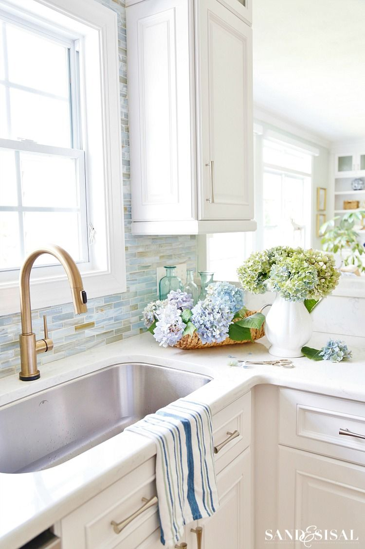 Summer Coastal Kitchen Sand And Sisal Coastal Kitchen Decor Coastal Kitchen Design Coastal Kitchen