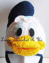 Crochet Donald Duck Inspired Hat  $6.00 by Laurie LeFave