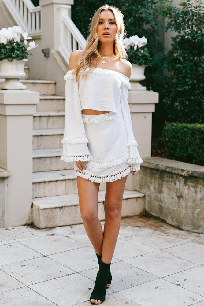 830d6cd6c7a3 Off Shoulder Long Trumpet Sleeve Crop Top with Tassels Short Skirt Two  Pieces Dress Set