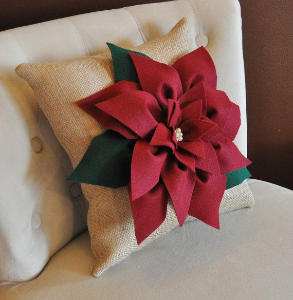 16 X16 Cranberry Red Poinsettia Flower On Burlap By
