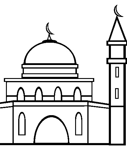 Gambar Masjid Hitam Putih Untuk Mewarnai