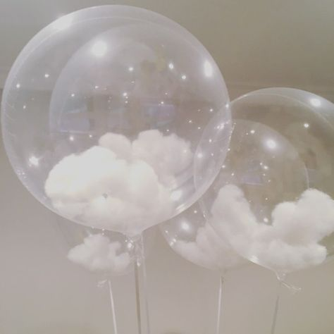 Cloud Balloons These Look Even Better In Person Clean Balloons And Puffed Cotton Balls Unique Baby Shower Themes Baby Shower Balloons Balloons