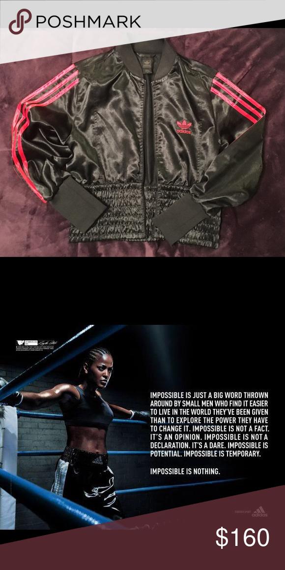 00b2e07bb adidas original satin bomber Laila Ali collection Almost new worn ...