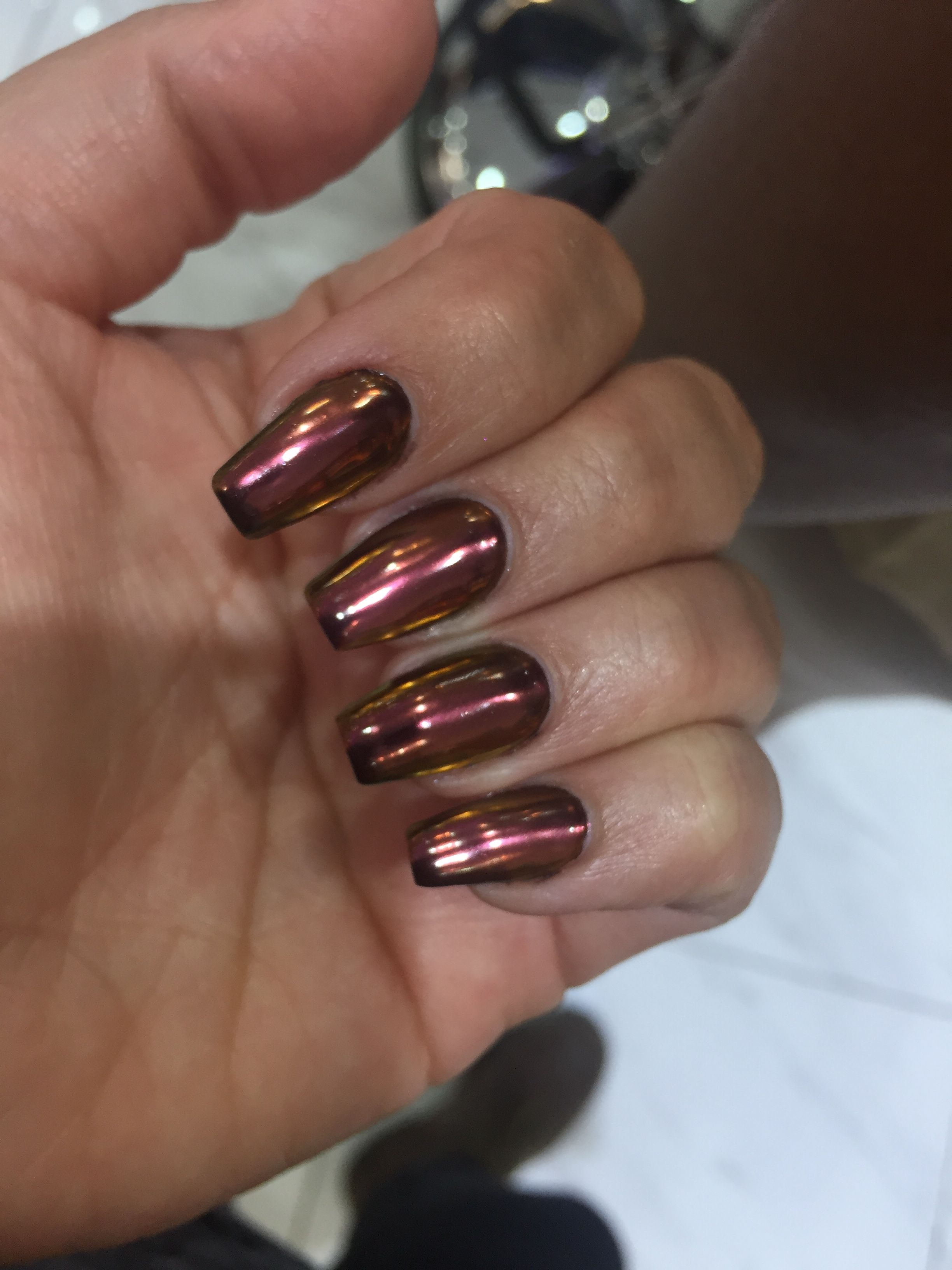 Bronze Chrome Nails - Hair and Beauty Tips | Pinterest