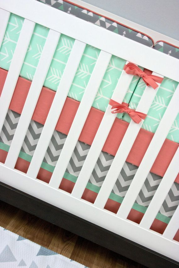 Mint 7pcs Unicorn Conical Gradient Color Makeup Brushes: Girl Crib Bedding, Mint And Coral, Arrow Baby Bedding