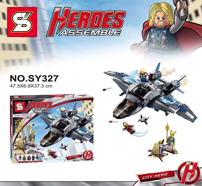 765Pcs The Avengers Age Of Ultron Quinjet Aerial Battle SY327 Avenger Building Block Minifigure Toys Compatible with Legoe //Price: $US $55.92 & FREE Shipping //     #toys