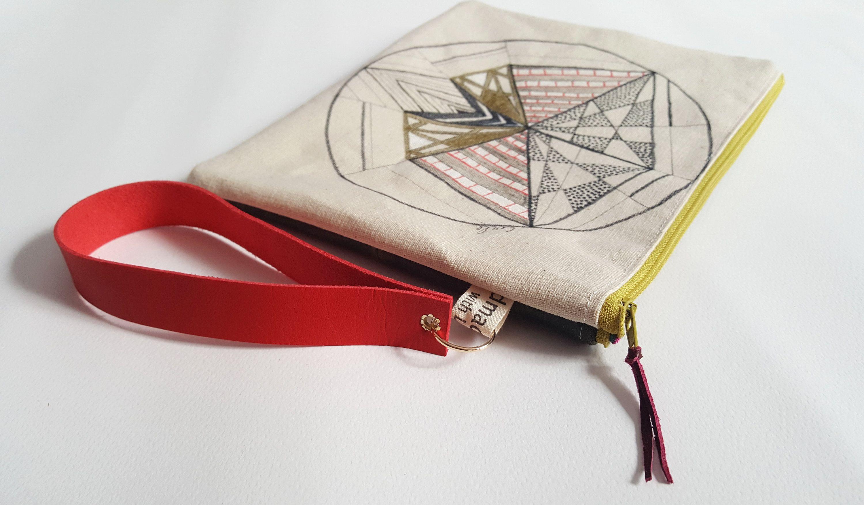 4e8f81f8aa05 Hand drawn canvas pouch, Unique wristlet, Clutch with strap, Zipper ...