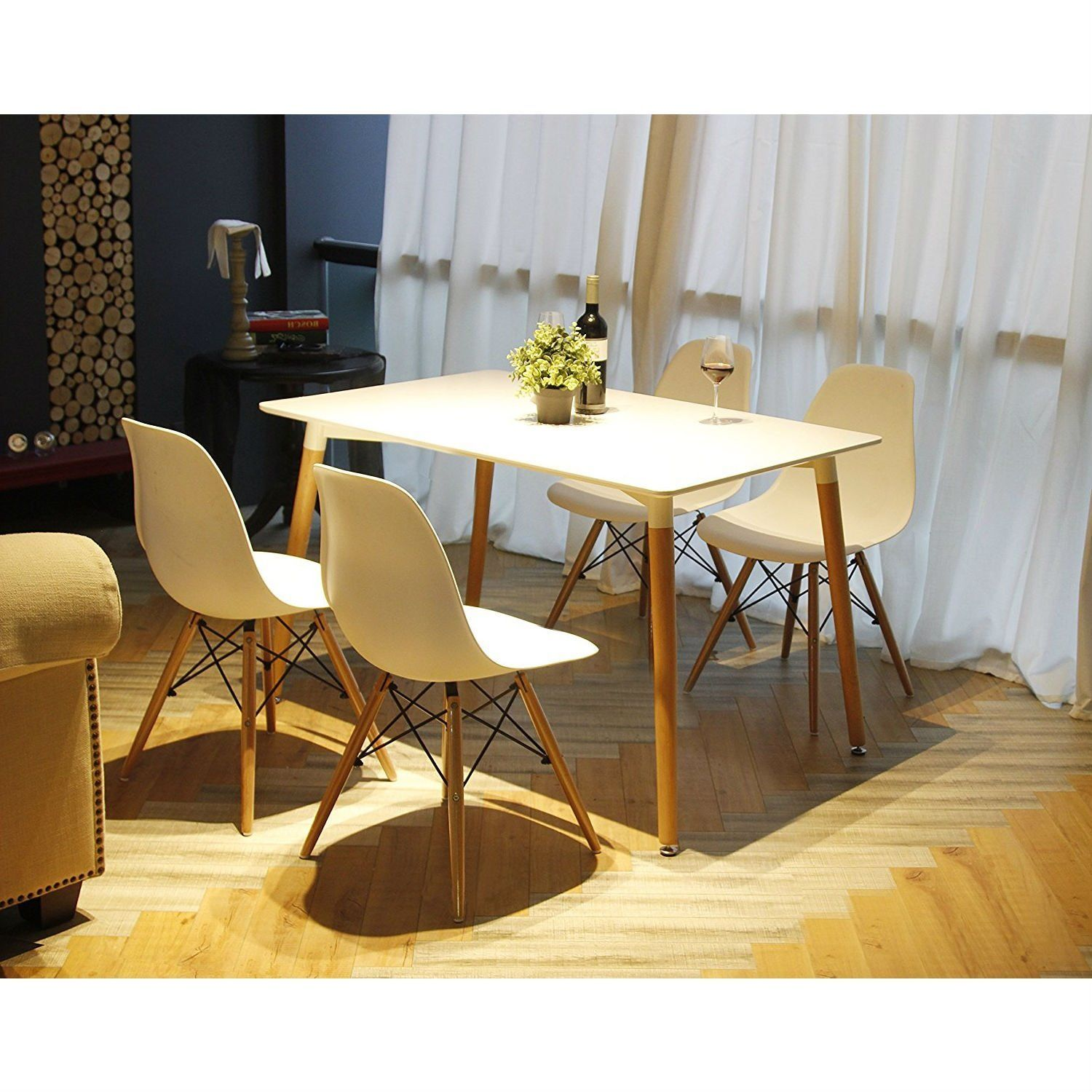 set of 4 modern ergonomic dining chairs in white with wood legs rh pinterest co uk