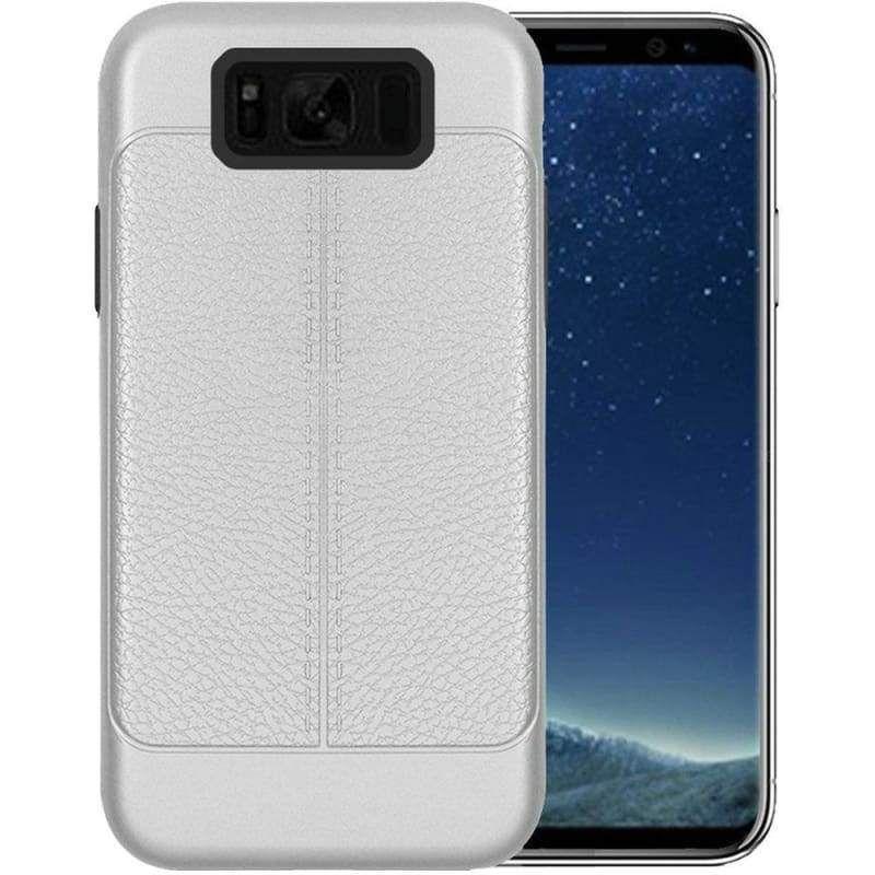 Leather Design Hybrid Case Silver For Samsung Galaxy S8 In 2020 Samsung Samsung Galaxy Galaxy