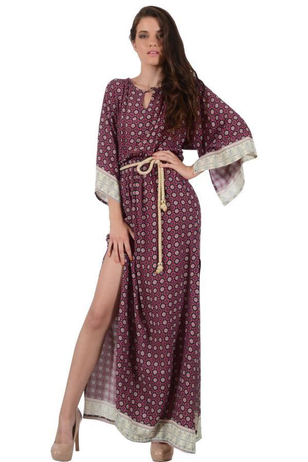 eacff1f606ef Φόρεμα καφτάνι μακρύ σε άνετη γραμμή με έξτρα ζώνη κορδόνι και ανοίγματα  στο πλάι