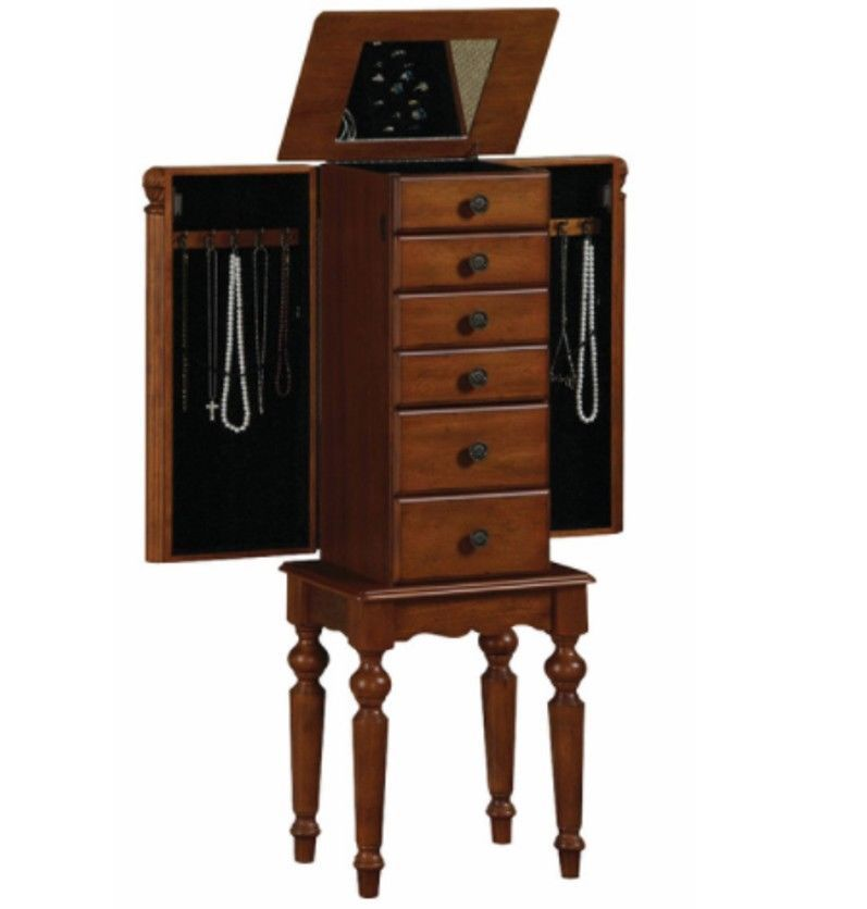 Jewelry Box Armoire Tall Stand Wood Storage w Mirror Drawers Cabinet
