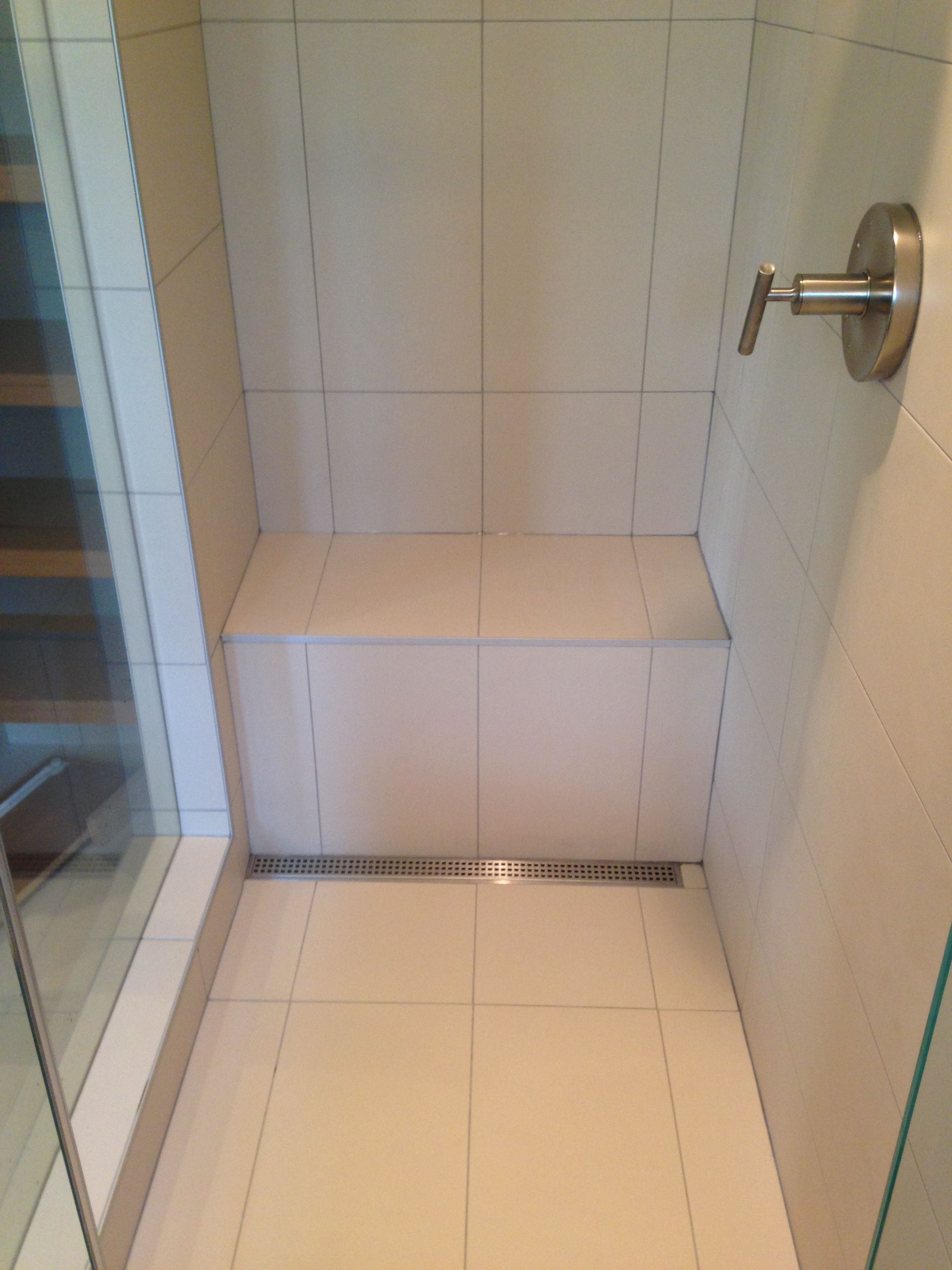 Tiled Shower with Bench and Schluter Linear Drain | Our Portfolio ...