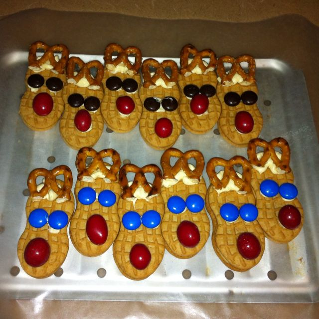 Reindeer treats.   This time used peanut m&m's for the noses, think its cuter.
