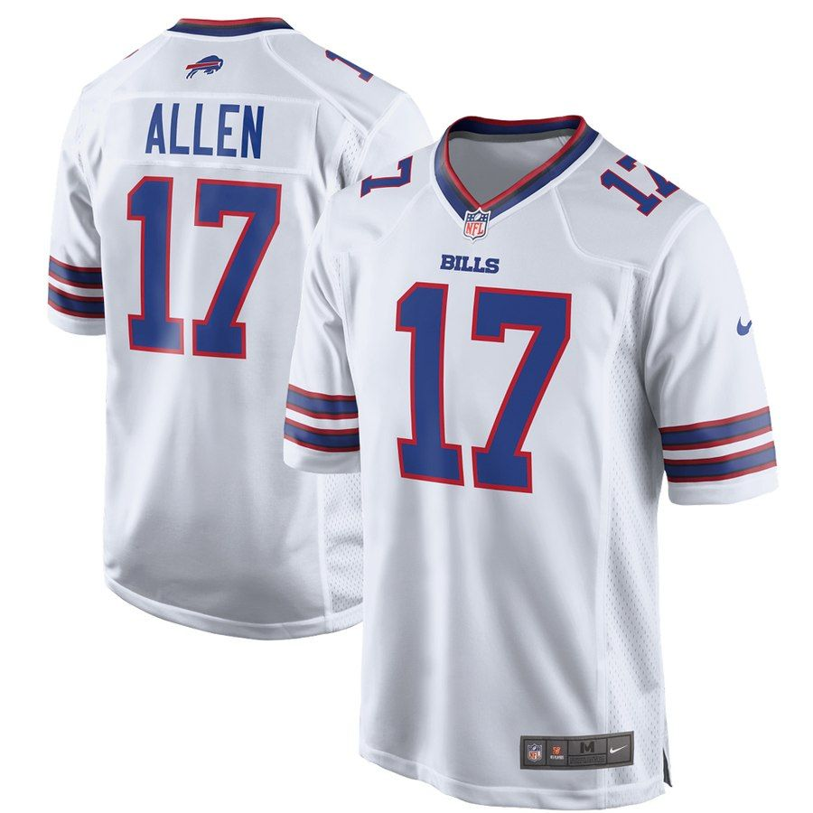 buy popular 099ee c0b36 Men's Buffalo Bills Josh Allen Nike White Game Jersey ...