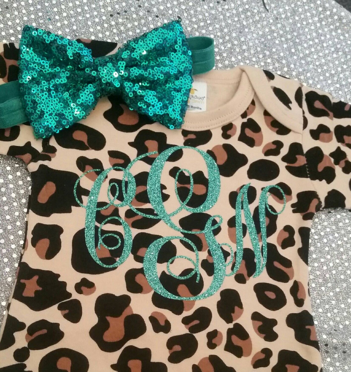 Jaguar Leopard Cheetah Print Monogrammed Gown or esie by