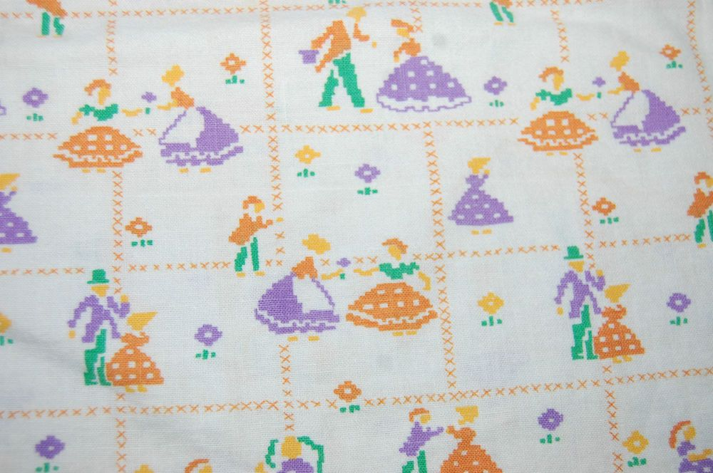 Vintage Flour Sack Fabric Purple &Orange Dancing Couple Small  Still intact