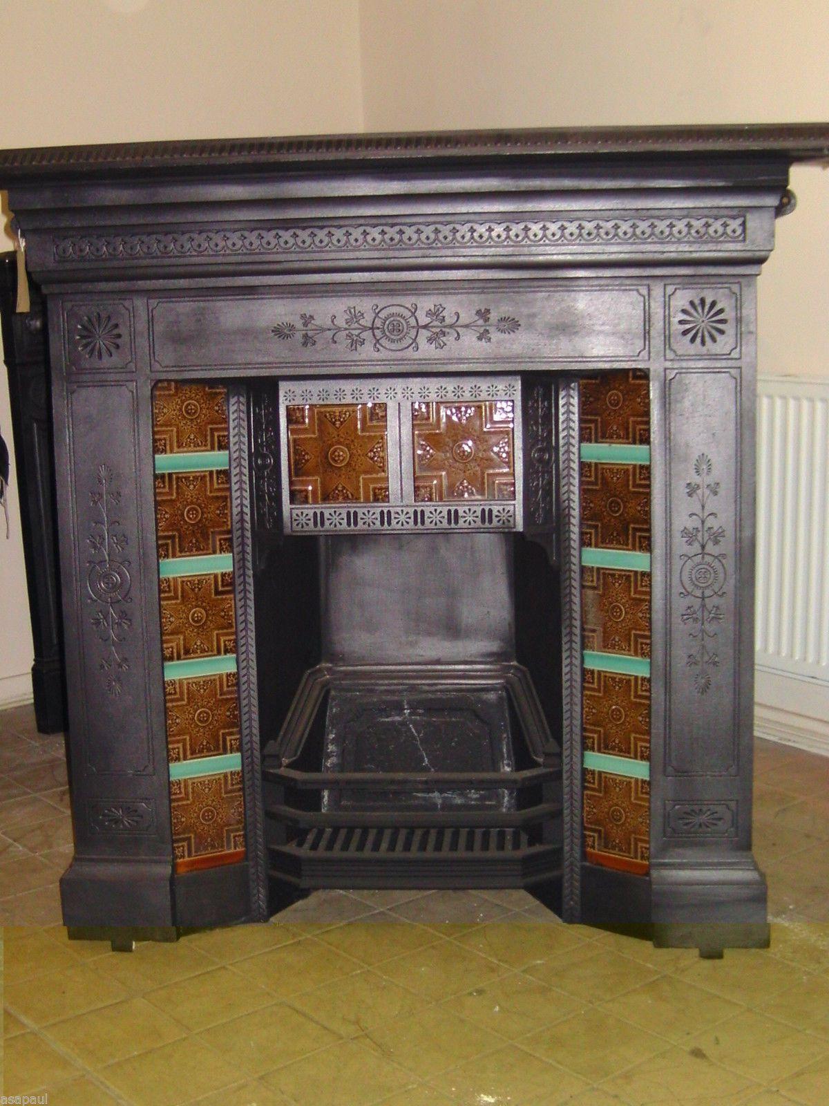 edwardian nouveau restoration tiles combination art product antique tile fireplace