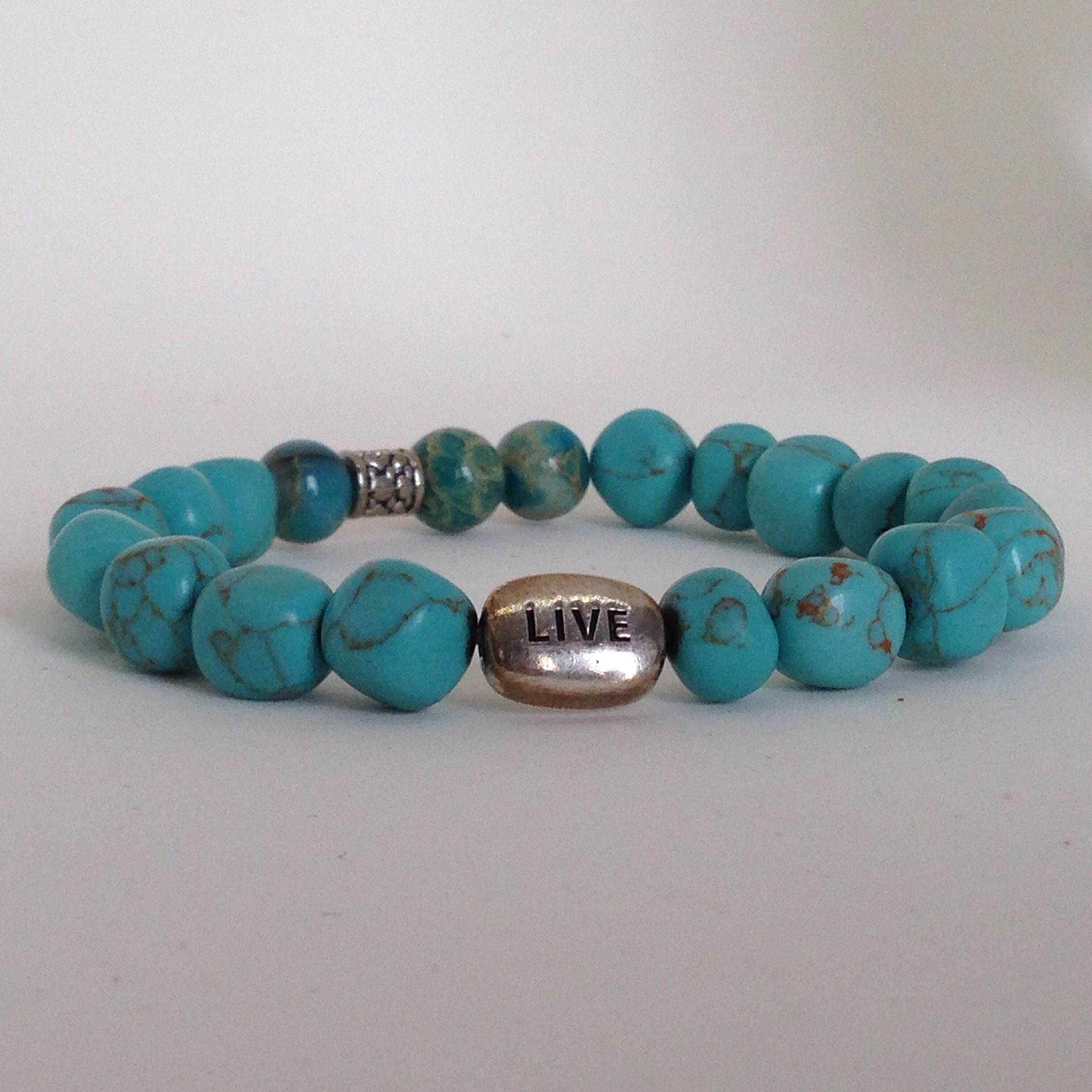 """Live"" turquoise semi precious stone bracelet by Bestowed Beads"