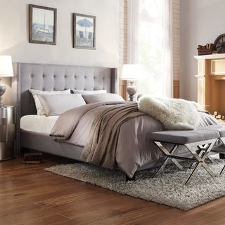 bedroom designs with grey upholstered bed - google search