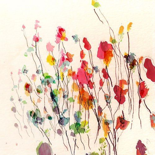 flowers - abstract use brusho and pen/monoprint?