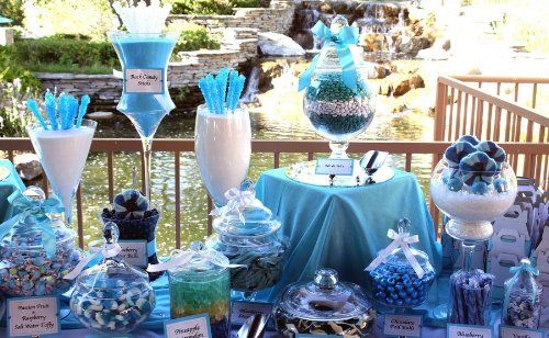Candy Table Ideas For Weddings | Wedding Candy Bar Inspired By Blue Box  From Tiffany