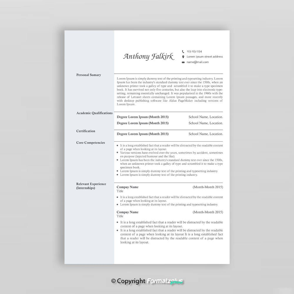 Pin By Formatzplus  Professional Resume Templates On Creative