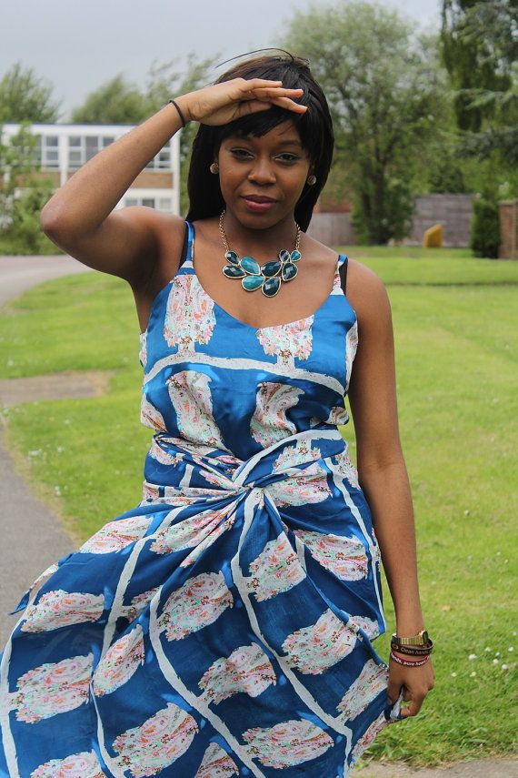 Fabric Express Blue Sleeveless Iro and Buba on Etsy, £40.00 ~African fashion, Ankara, kitenge, African women dresses, African prints, African men's fashion, Nigerian style, Ghanaian fashion ~DKK